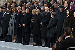 Prime Minister of Canada Justin Trudeau, Morocco's King Mohammed VI and his son, first lady Melania Trump, U.S. President Donald Trump, German Chancellor Angela Merkel, Emmanuel Macron and Brigitte Macron, Russian President Vladimir Putin and Australian Governor-General Peter Cosgrove.<br /> French President Emmanuel Macron and Brigitte Macron, German Chancellor Angela Merkel, U.S. President Donald Trump, first lady Melania Trump, Morocco's King Mohammed VI, Russian President Vladimir Putin, Australian Governor-General Peter Cosgrove attend a commemoration ceremony for Armistice Day, 100 years after the end of the First World War at the Arc de Triomphe.<br /> Paris,FRANCE-11/11/2018 Photo by Jacques Witt/pool/ABACAPRESS.COM
