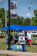 About 100 people participated in a Pride Rally in Milton, Pennsylvania on August 8, 2020. The I Am Alliance organized the event after an area grocery store posted an anti-mask sign which blamed the LGBTQ community for spreading COVID-19 . (Photo by Paul Weaver)