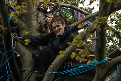 Aylesbury Vale, UK. 6th October, 2020. An anti-HS2 activist smiles from alongside a makeshift tree house about sixty feet above ground at a wildlife protection camp in ancient woodland at Jones' Hill Wood. The Jones' Hill Wood camp, one of several protest camps set up by anti-HS2 activists along the route of the £106bn HS2 high-speed rail link in order to resist the controversial infrastructure project, is currently being evicted by National Eviction Team bailiffs working on behalf of HS2 Ltd.