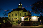 Somervell County residents wait outside the county courthouse for the primary election results to be posted on the gazebo on March 1, 2016 in Glenn Rose, Texas.  (Cooper Neill for The New York Times)