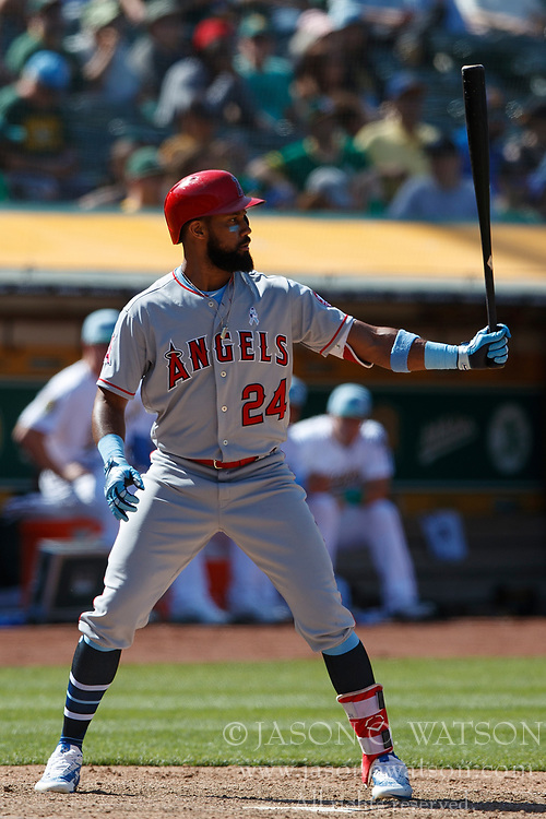 OAKLAND, CA - JUNE 17: Chris Young #24 of the Los Angeles Angels of Anaheim at bat against the Oakland Athletics during the eleventh inning at the Oakland Coliseum on June 17, 2018 in Oakland, California. The Oakland Athletics defeated the Los Angeles Angels of Anaheim 6-5 in 11 innings. (Photo by Jason O. Watson/Getty Images) *** Local Caption *** Chris Young