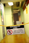 Sign strung across corridor on the USS Missouri denoting a Controlled Area. Battleship Missouri Memorial, Pearl Harbour, Hawaii RIGHTS MANAGED LICENSE AVAILABLE FROM www.PhotoLibrary.com