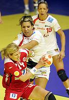 03.12.2008 Ohrid (FYR Macedonia)<br />Norway-Spain European women's handball championship<br />Larsen Tonje(L) Norway and Koleva Zornitza(c) Spain <br />Foto:Aleksandar Djorovic