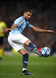 Manchester City's Riyad Mahrez scores his side's fifth goal of the game
