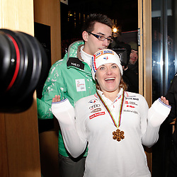 10.02.2013, Oh la la - Gasthaus Brunner, AUT, FIS Weltmeisterschaften Ski Alpin, Schladming, im Bild Goldmedailllen Gewinnerin Marion Rolland (FRA) // Marion Rolland of France poses with her Gold Medal during FIS Ski World Championships 2013 at the Oh la la - Gasthaus Brunner, Schladming, Austria on 2013/02/10. EXPA Pictures © 2013, PhotoCredit: EXPA/ Martin Huber.
