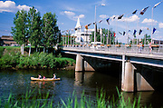 Alaska. Fairbanks. Enjoying a boat trip on the Chena River under the Cushman Bridge.