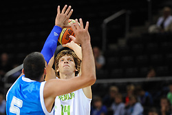Jaka Klobucar of Slovenia during friendly match between National Teams of Slovenia and Greece before World Championship Spain 2014 on August 17, 2014 in Kaunas, Lithuania. Photo by Robertas Dackus / Sportida.com