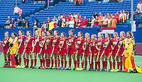 BOOM -  Het belgische team  voor de halve finale van het EK hockey tussen de vrouwen van Belgie en Duitsland. ANP KOEN SUYK