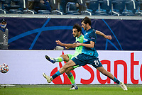 SAINT PETERSBURG, RUSSIA - NOVEMBER 04: Marco Parolo of SS Lazio and Aleksandr Yerokhin of Zenit St Petersburg during the UEFA Champions League Group F stage match between Zenit St. Petersburg and SS Lazio at Gazprom Arena on November 4, 2020 in Saint Petersburg, Russia. (Photo by MB Media)