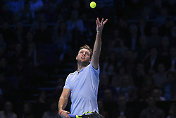 November 16, 2017 - London, England, United Kingdom - US player Jack Sock serves to Germany's Alexander Zverev during their men's singles round-robin match on day five of the ATP World Tour Finals tennis tournament at the O2 Arena in London on November 16 2017. (Credit Image: © Alberto Pezzali/NurPhoto via ZUMA Press)