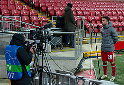 LIVERPOOL, ENGLAND - Tuesday, October 27, 2020: Liverpool's Diogo Jota, who scored the club's 10,000th goal, is interviewed by LFC.TV after the UEFA Champions League Group D match between Liverpool FC and FC Midtjylland at Anfield. Liverpool won 2-0. (Pic by David Rawcliffe/Propaganda)
