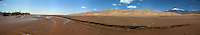 Panorama with Water Flowing at Medano Creek in the Spring. Great Sand Dunes National Park, Colorado. Composite of 6 image takens with a Nikon D3 and 24-70 mm f/2.8 lens (ISO 200, 34 mm, f/16, 1/100 sec) using PTGui Pro.