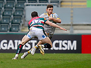 Wasps Full-back Matteo Minozzi runs at Leicester Tigers centre Matt Scott forward during a Gallagher Premiership Round 10 Rugby Union match, Friday, Feb. 20, 2021, in Leicester, United Kingdom. (Steve Flynn/Image of Sport)