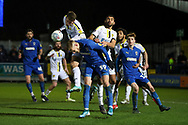 AFC Wimbledon striker Joe Pigott (39) battles for possession in box during the EFL Sky Bet League 1 match between AFC Wimbledon and Burton Albion at the Cherry Red Records Stadium, Kingston, England on 28 January 2020.