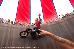 Charlie Ransom performs the main act in the American Motordrome Wall of Death at the Handbuilt Motorcycle Show. Austin, TX, USA. April 9, 2016.  Photography ©2016 Michael Lichter.