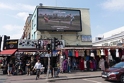© Licensed to London News Pictures. 27/05/2016. An Operation Black Vote billboard campaign poster featuring an elderly Asian woman and an aggressive white skinhead appears in North London. The poster was designed to encourage ethnic minorities to vote in the EU Referendum on 7th June but has sparked outrage. London, UK. Photo credit: Ray Tang/LNP