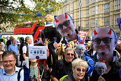 © Licensed to London News Pictures. 04/09/2019. London, UK. Brexit protesters demonstrating outside of College Green opposite the Palace of Westminster with horned effigies of Downing Street special advisor Dominic Cummings . Photo credit: Guilhem Baker/LNP