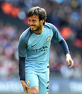 Manchester City's David Silva pulls his hamstring during the FA Cup Semi Final match at Wembley Stadium, London. Picture date: April 23rd, 2017. Pic credit should read: David Klein/Sportimage