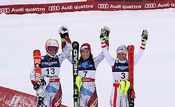 10.02.2017, St. Moritz, SUI, FIS Weltmeisterschaften Ski Alpin, St. Moritz 2017, alpine Kombination, Damen, Slalom, im Bild v.l. Michelle Gisin (SUI, Silbermedaille Alpine Kombination der Damen), Wendy Holdener (SUI, Weltmeister und Goldmedaille Alpine Kombination der Damen), Michaela Kirchgasser (AUT, Bronzemedaille Alpine Kombination der Damen) // f.l. ladie's Alpin Combined Silver medalist Michelle Gisin of Switzerland, ladie's Alpin Combined Goldmedalist and World Champion Wendy Holdener of Switzerland, ladie's Alpin Combined bronze medalist Michaela Kirchgasser of Austria after her run of Slalom competition for the ladie's Alpine combination of the FIS Ski World Championships 2017. St. Moritz, Switzerland on 2017/02/10. EXPA Pictures © 2017, PhotoCredit: EXPA/ SM<br /> <br /> *****ATTENTION - OUT of GER*****