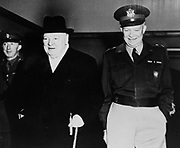 General Dwight Eisenhower, Supreme Commander of the North Atlantic Treaty Organisation (NATO) in 1950 with    Winston Churchill (1874-1965) British statesman and Conservative politician.