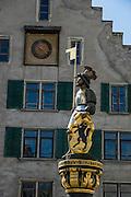 Statue in medieval Old Town, Schaffhausen, Switzerland, Europe