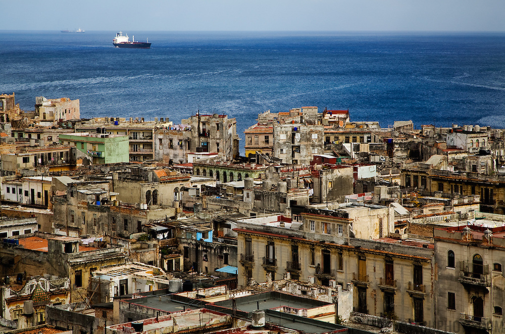 A view of Havana and the ocean from above.