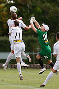 Waikato's Goal keeper Mark Fulcher is out numbered in the box by team Wellington during their White Ribbon Cup Final in Hamilton. NZFC, ASB Premiership football match, Waikato FC v  Team Wellington at Gower Park, Hamilton, New Zealand. Sunday 1 Apirl. Photo: Dion Mellow / photosport.co.nz
