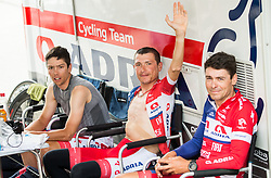 Ziga Groselj of Adria Mobil Cycling Team, Janez Brajkovic of Adria Mobil Cycling Team and Jure Golcer of Adria Mobil Cycling Team prior to the 5th Time Trial Stage of 25th Tour de Slovenie 2018 cycling race between Trebnje and Novo mesto (25,5 km), on June 17, 2018 in  Slovenia. Photo by Vid Ponikvar / Sportida