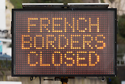 © Licensed to London News Pictures. 22/12/2020. Dover, UK. An electronic sign warns people the 'French Borders Closed'' Port of Dover is closed to vehicles and passengers headed for mainland Europe as the French government have prohibited travel due to a new UK outbreak of the Covid-19 disease. Photo credit: London News Pictures