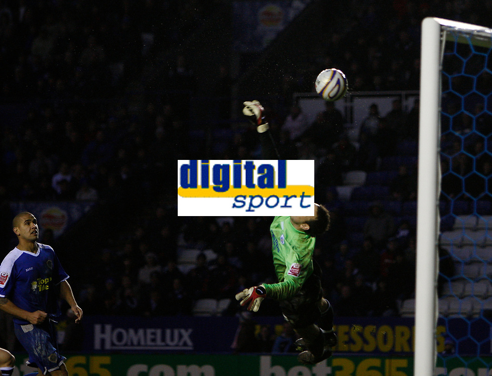Photo: Steve Bond/Sportsbeat Images.<br />Leicester City v West Bromwich Albion. Coca Cola Championship. 08/12/2007. Keeper Martin Fulop dives but cannot keep out the late strike by Craig Beattie. Patrick Kisnorbo (L) looks on.