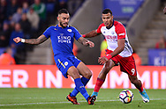 Danny Simpson of Leicester city (l) battles with Solomon Rondon of West Bromwich Albion .Premier league match, Leicester City v West Bromwich Albion at the King Power Stadium in Leicester, Leicestershire on Monday 16th October 2017.<br /> pic by Bradley Collyer, Andrew Orchard sports photography.