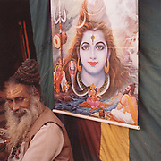 A saddhu and a portrait of a god at the Kumbh Mela