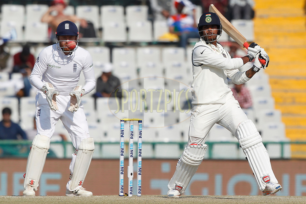 Umesh Yadav of India bats during day 3 of the third test match between India and England held at the Punjab Cricket Association IS Bindra Stadium, Mohali on the 28th November 2016.<br /> <br /> Photo by: Deepak Malik/ BCCI/ SPORTZPICS