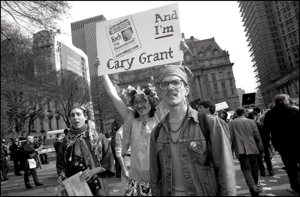 """On March 28, 1989, ACT UP's second anniversary protest, """"Target City Hall"""", drew 3,000 to New York's City Hall, to protest the inadequacy of New York's AIDS policy under Mayor Edward Koch. About 200 people were arrested."""