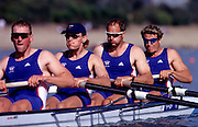 Sydney Olympics 2000 - Penrith Lakes, NSW .Heat men's coxless four GBR M4-.Matthew Pinsent (left and stroke) Tim Foster, Steve Redgrave and James Cracknell 2000 Olympic Regatta Sydney International Regatta Centre (SIRC) 2000 Olympic Rowing Regatta00085138.tif