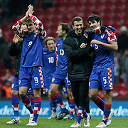 Croatia's players celebrate victory during their UEFA EURO 2012 Play-off for Final Tournament First leg soccer match Turkey betwen Croatia at TT Arena in Istanbul Nüovember11, 2011. Photo by TURKPIX
