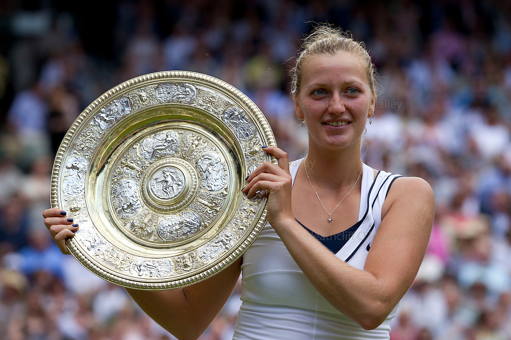 Mcc0032212 . Sunday Telegraph..Petra Kvitova celebrates after beating Maria Sharapova in two straight sets in the Ladies Finals..Maria Sharapova vs Petra Kvitova..The tweltth day of The Lawn Tennis Championships at Wimbledon..London 2 July 2011