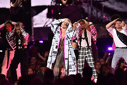 Pink on stage at the Brit Awards 2019 at the O2 Arena, London. Photo credit should read: Matt Crossick/EMPICS Entertainment. EDITORIAL USE ONLY