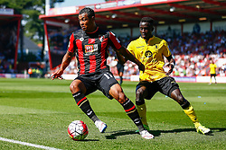 Joshua King of AFC Bournemouth keeps the pressure on Aston Villa - Mandatory by-line: Jason Brown/JMP - Mobile 07966 386802 08/08/2015 - FOOTBALL - Bournemouth, Vitality Stadium - AFC Bournemouth v Aston Villa - Barclays Premier League - Season opener