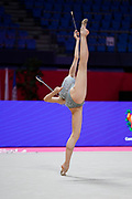Dalia Porokhnya from Portugal is competing in the Individual Rhythmic Gymnastics World Cup at Vitrifrigo Arena in May 2021, Pesaro, Italy. She was born in Portimao in 2004.