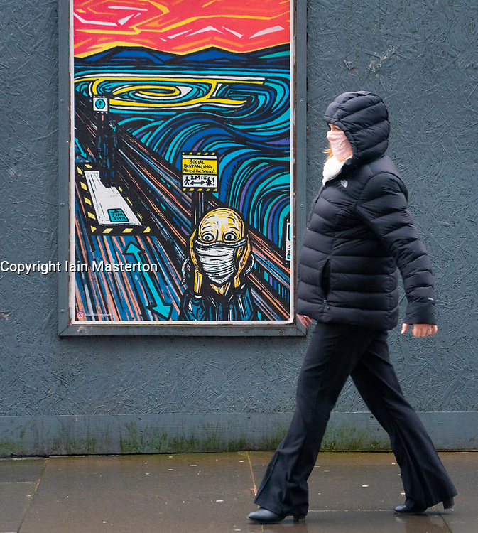 Glasgow, Scotland, UK. 1 November 2020. The Scottish Government today announced that from Friday 20 November, the most severe level 4 lockdown will be introduced in eleven Scottish council areas. This means non essential shops will close and bars, restaurants and cafes. Pictured; Coronavirus street art.  Iain Masterton/Alamy Live News