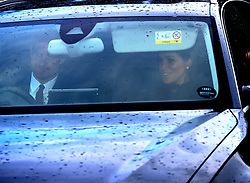 The Duke and Duchess of Sussex arriving for the Queen's Christmas lunch at Buckingham Palace, London.