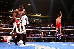 Callum Smith (right) celebrates his win against Hassan N'Dam in the WBA 'Super' World, WBC Diamond, Ring Magazine Super-Middlesweight title fight at Madison Square Garden, New York.