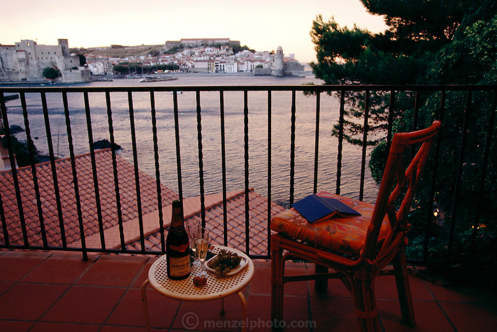 """View from room """"Man Ray"""" at La Balette, a seaside hotel. Collioure, France."""