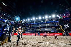 Center court with sky boxes, light show, volleyball and entertainment during the first day of the beach volleyball event King of the Court at Jaarbeursplein on September 9, 2020 in Utrecht.