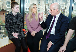 Pictured: Mr Swinney chatted with modern apprentices George McArthue (pink Jumper) and Holly Whitehead (black and white dress) durinmg his visit.<br /> Deputy First Minister John Swinney visited Cowgate Nursery in Edinburgh to meet children, staff and modern apprentices working in early years and childcare. Mr Swinney confirmed that a record number of early years apprenticeships are expected to start this year as part of the expansion of free nursery and childcare.  Mr Swinney toured the nursery and discussed the City of Edinburgh Council's plans to expand the early years and childcare workforce and met with modern apprentices as well as Jake Stefanovic, an ambassador from the Scottish Government's childcare recruitment campaign.<br /> <br /> <br /> Ger Harley | EEm 13 February 2018