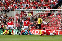 Photo: Steve Bond/Richard Lane Photography.<br />Nottingham Forest v Watford. Coca-Cola Football League Championship. 23/08/2008. Tommy Smith (far L) slides in to equalise