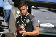 Cesc Fabregas  of Chelsea arrives off the team bus ahead of the game. Premier league match, Swansea city v Chelsea at the Liberty Stadium in Swansea, South Wales on Sunday 11th Sept 2016.<br /> pic by  Andrew Orchard, Andrew Orchard sports photography.