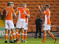 Blackpool's Kelvin Mellor celebrates scoring his side's first goal with teammates Sean Longstaff, Oliver Turton, Jay Spearing and Kyle Vassell<br /> <br /> Photographer Alex Dodd/CameraSport<br /> <br /> The EFL Sky Bet League One - Blackpool v Bury - Tuesday 17th October 2017 - Bloomfield Road - Blackpool<br /> <br /> World Copyright © 2017 CameraSport. All rights reserved. 43 Linden Ave. Countesthorpe. Leicester. England. LE8 5PG - Tel: +44 (0) 116 277 4147 - admin@camerasport.com - www.camerasport.com