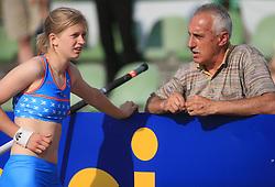 Tina Sutej and her coach Slavko Cerne at 3rd Memorial meeting of Matic Sustersic and Patrik Cvetan, on June 1, 2008, in ZSD Ljubljana Stadium, Ljubljana, Slovenia. (Photo by Vid Ponikvar / Sportal Images).